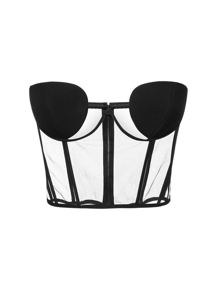 NENSI DOJAKA Sheer Tulle Strapless Bustier Top in black