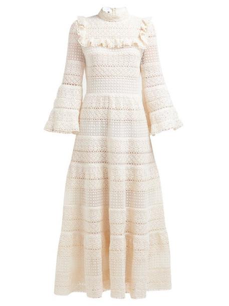 Giambattista Valli - Ruffled Cotton Crochet Gown - Womens - Ivory