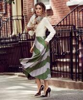 scarf,fur scarf,high heel pumps,Valentino,dress,elegant