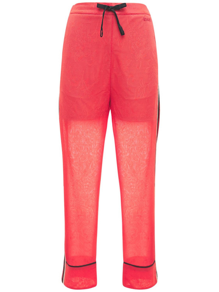 KOCHE' Pinstriped Pants W/ Side Bands in red