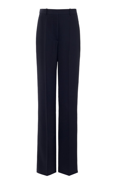 Victoria Beckham Straight-Leg Virgin Wool Pants in navy
