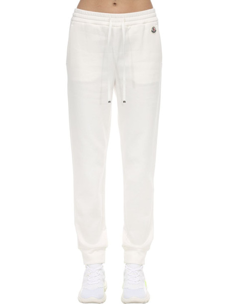 MONCLER Cotton Track Pants W/ Logo Patch in gold / white