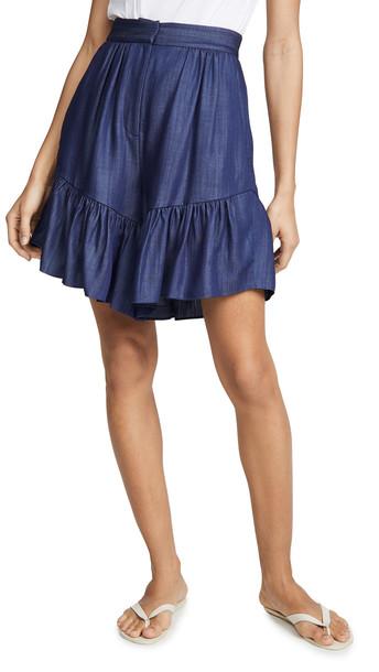 Tibi Ruffle Shorts in indigo