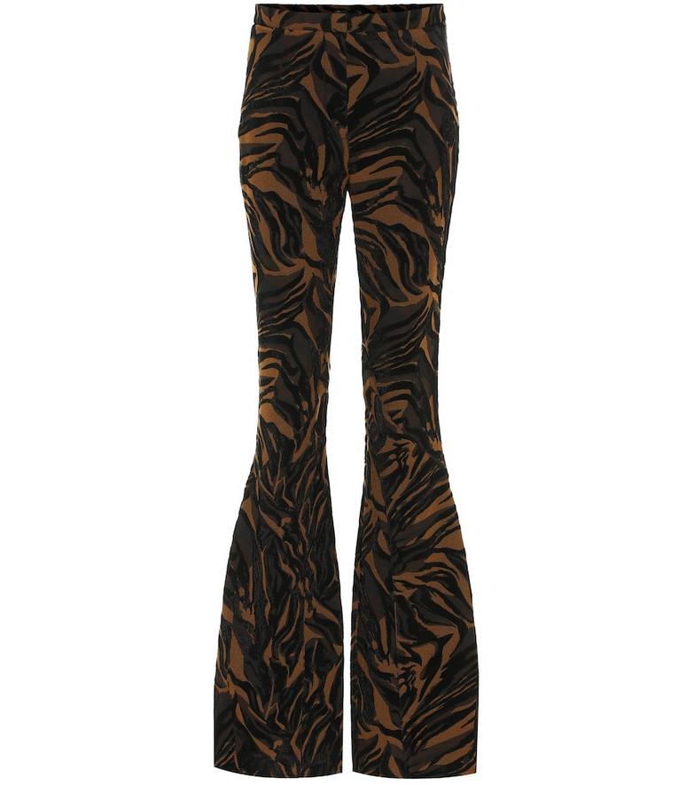 Mugler Jacquard high-rise flared pants in brown