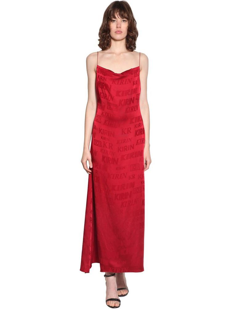 KIRIN Logo Satin Jacquard Midi Dress in red