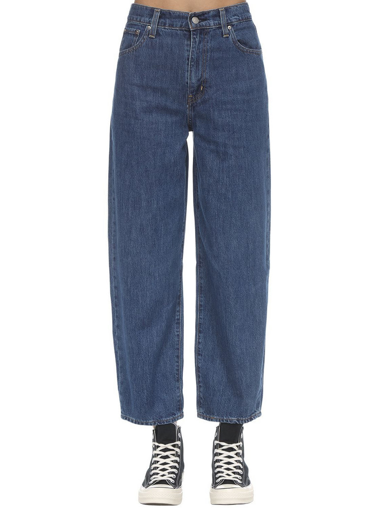 LEVI'S RED TAB High Rise Mom Fit Cotton Denim Jeans in blue