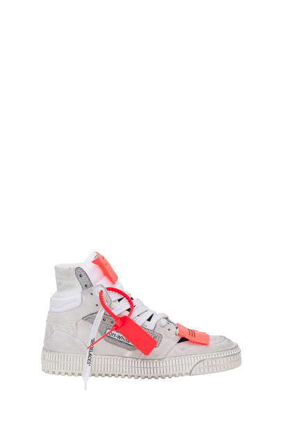 Off-White Offf Court Sneakers With Lurex Inserts in bianco