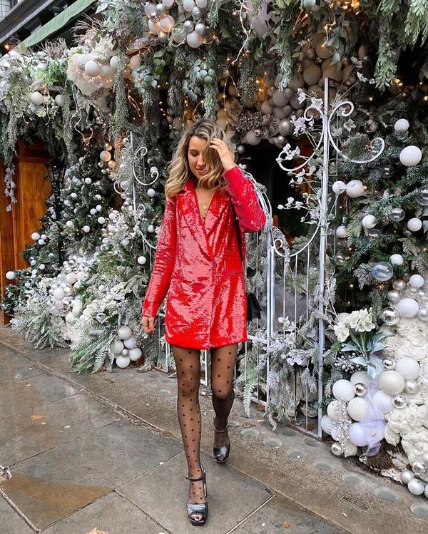 dress blazer dress sequin dress red dress sandal heels tights black bag