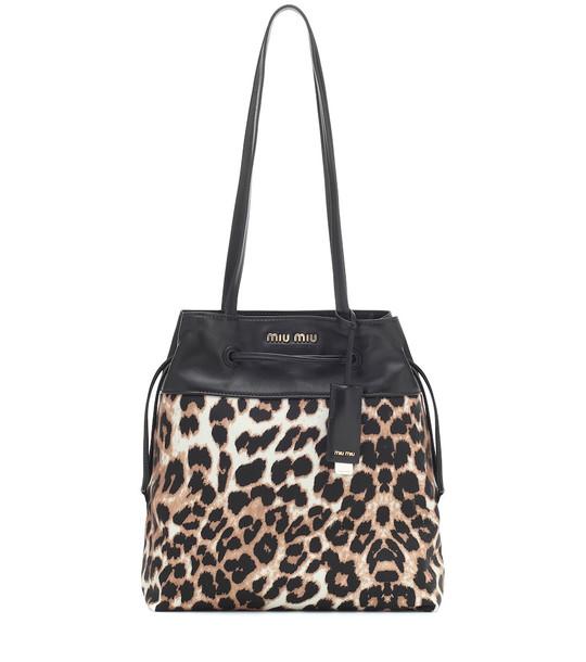 Miu Miu Leopard-print tote in black
