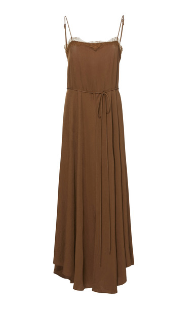 Vince Lace-Trimmed Crepe Cami Dress Size: S in brown