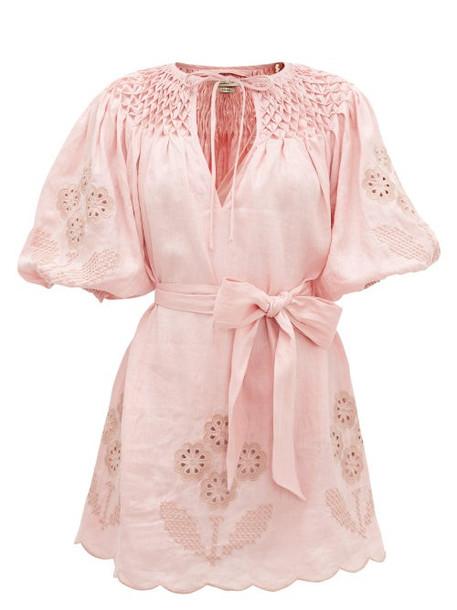 Innika Choo - Smocked Broderie-anglaise Linen Dress - Womens - Light Pink