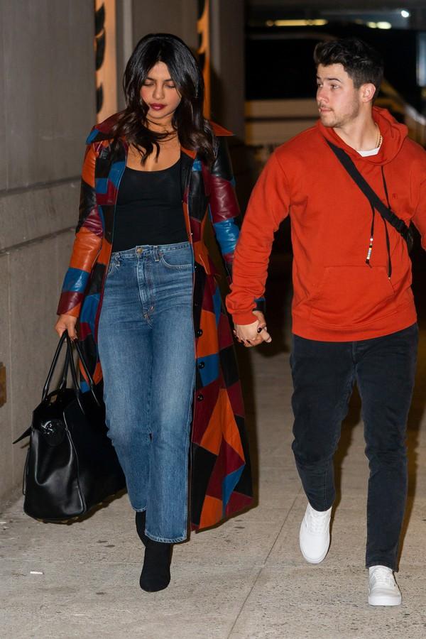 coat priyanka chopra celebrity fall outfits jeans denim top