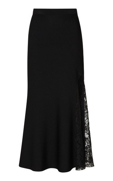 Givenchy Lace-Paneled Asymmetric Crepe Midi Skirt in black