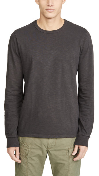 Madewell Bound Collar Long Sleeve T-Shirt in black