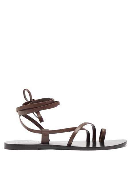 A.emery - Beau Toe Post Ankle Tie Leather Sandals - Womens - Dark Brown