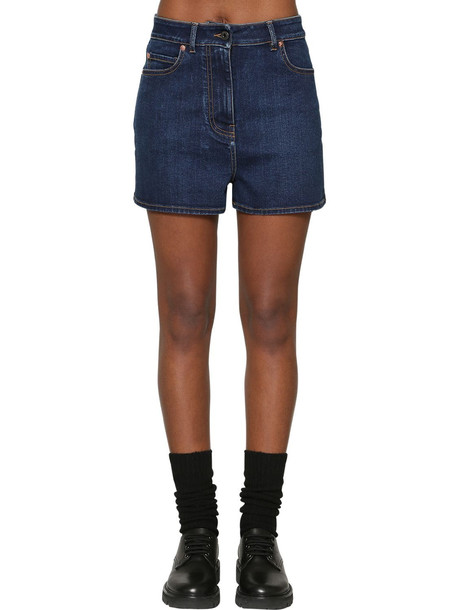 VALENTINO Vlogo Cotton Blend Denim Shorts