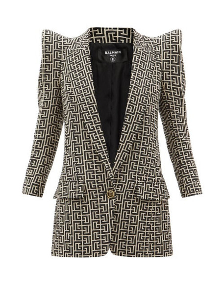 Balmain - Pagoda-shoulder Wool-hopsack Suit Jacket - Womens - Black White