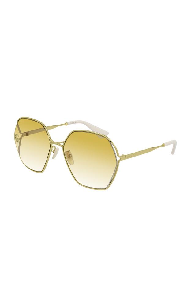 Gucci Hexagon-Frame Metal Sunglasses in yellow
