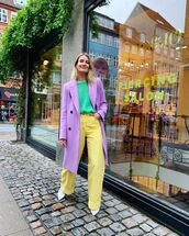 coat,long coat,double breasted,wide-leg pants,yellow,white boots,sweater
