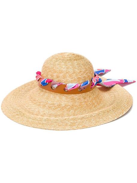 Emilio Pucci scarf trim sun hat in neutrals