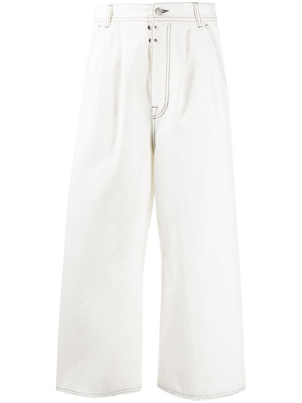 MM6 Maison Margiela flared cropped high-waisted jeans in white
