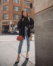 top,black shirt,high waisted jeans,cropped jeans,pumps,dior,handbag,red bag