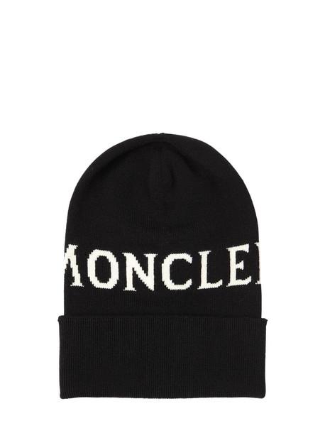 MONCLER Logo Wool Knit Hat in black
