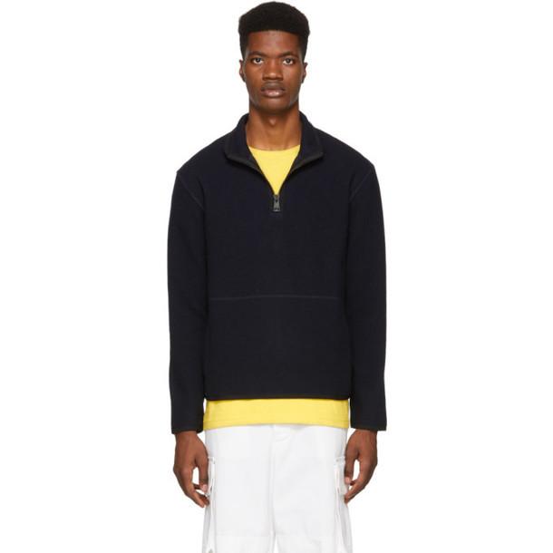 AMI Alexandre Mattiussi Navy Half-Zip Sweatshirt