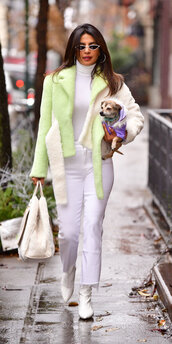 top,turtleneck,white,white top,jacket,priyanka chopra,celebrity,fall outfits