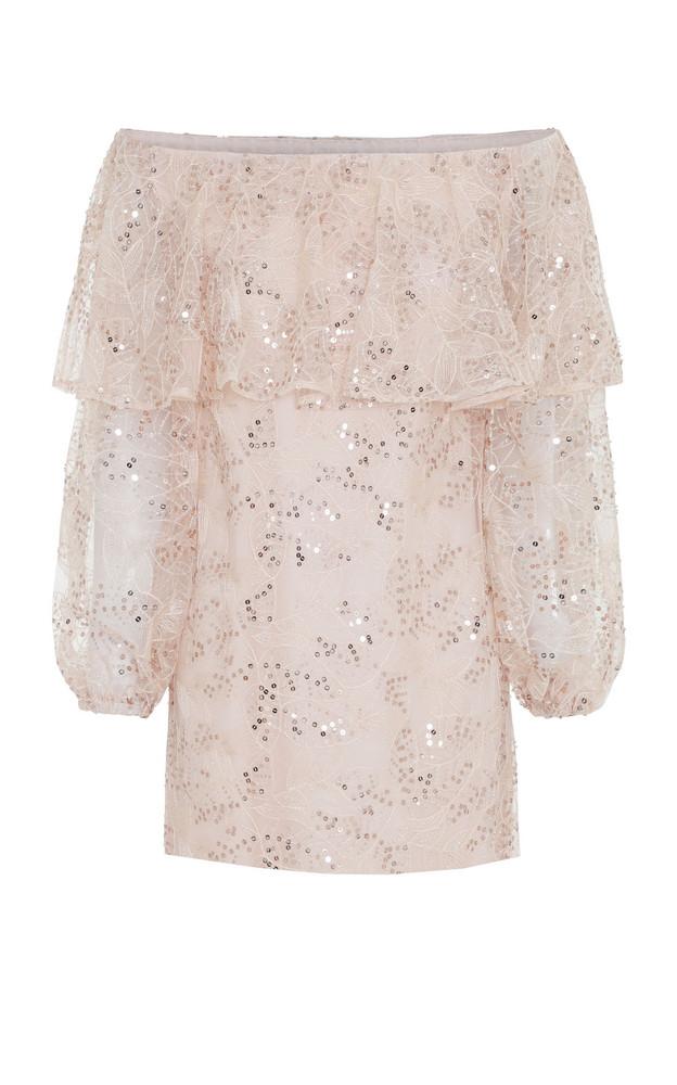 ROTATE Off-Shoulder Sequin-Embellished Mini Dress in pink