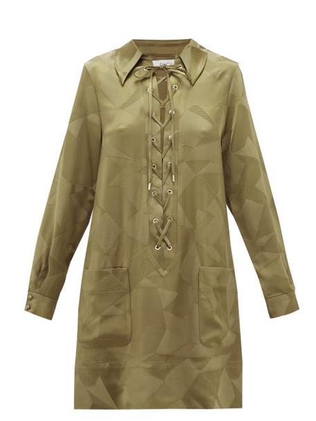 Racil - Sahara Aprilia Lace-up Satin Mini Dress - Womens - Khaki