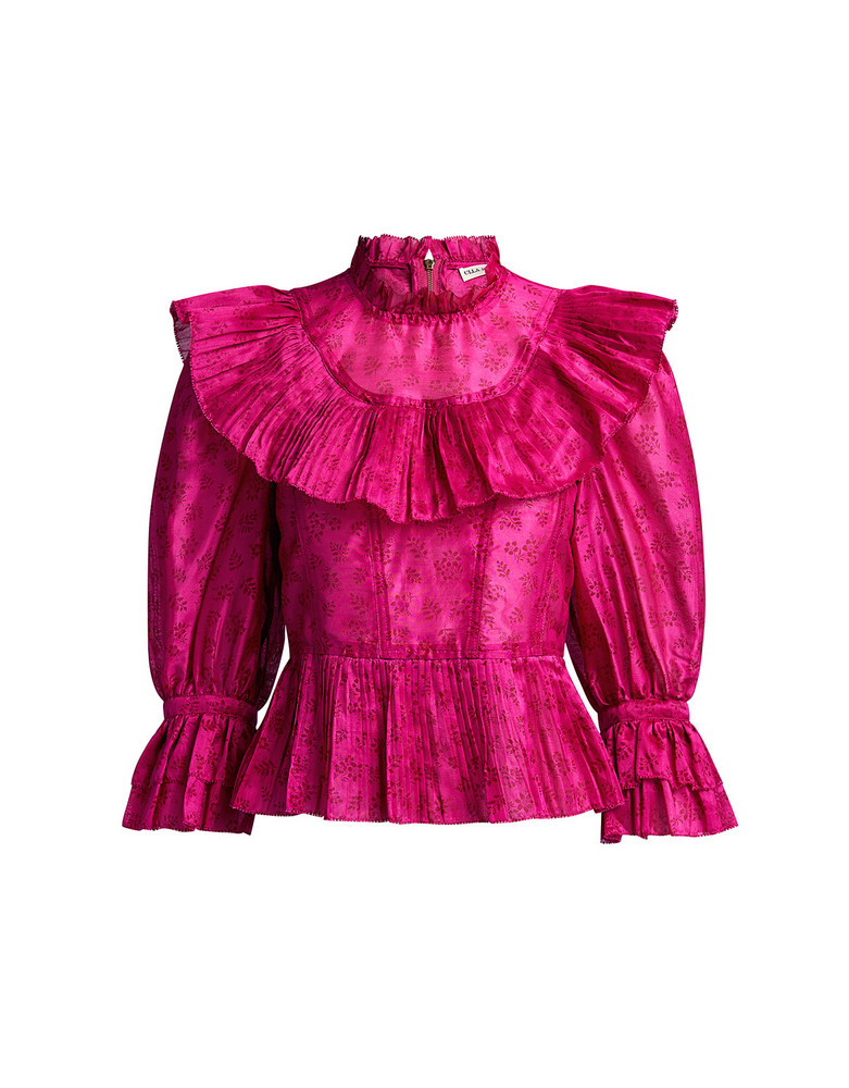 Ulla Johnson Edna Floral Pleated High Neck Blouse Fuchsia