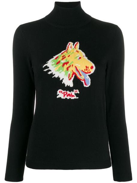 Shrimps printed intarsia knit jumper in black