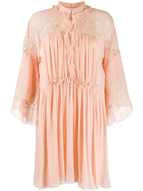 Chloé flared silk dress in pink