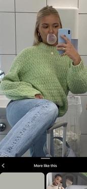 sweater,green,turtleneck