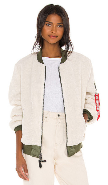 ALPHA INDUSTRIES L-2B Sherpa Flight Jacket in White in cream