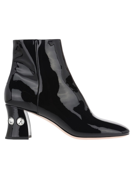 Miu Miu Patent Leather Embellished Boots in black