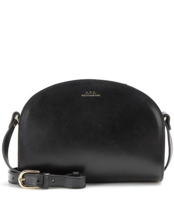 A.P.C. Demi-Lune leather shoulder bag in black