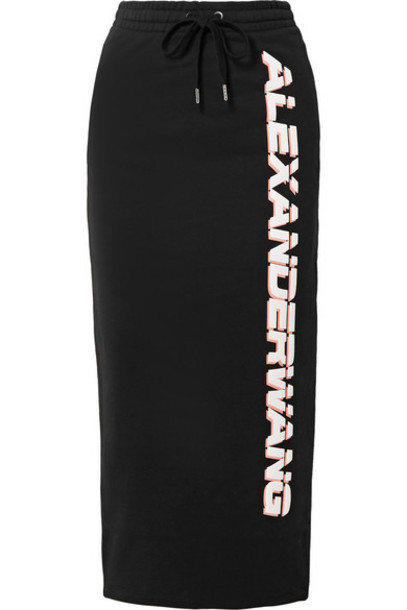 alexanderwang.t - Printed French Cotton-terry Midi Skirt - Black