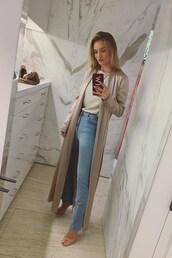 coat,nude,duster coat,rosie huntington-whiteley,model off-duty,instagram,jeans,denim,spring outfits