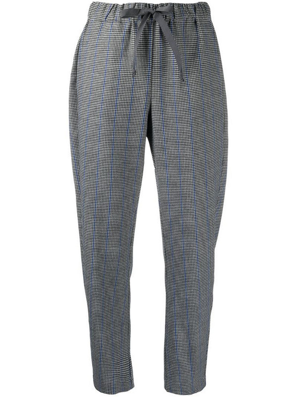 Semicouture elasticated check pattern trousers in black