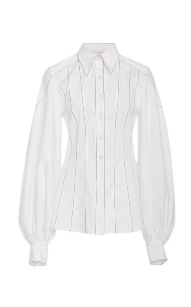 Carolina Herrera Pinstriped Cotton-Blend Top in white