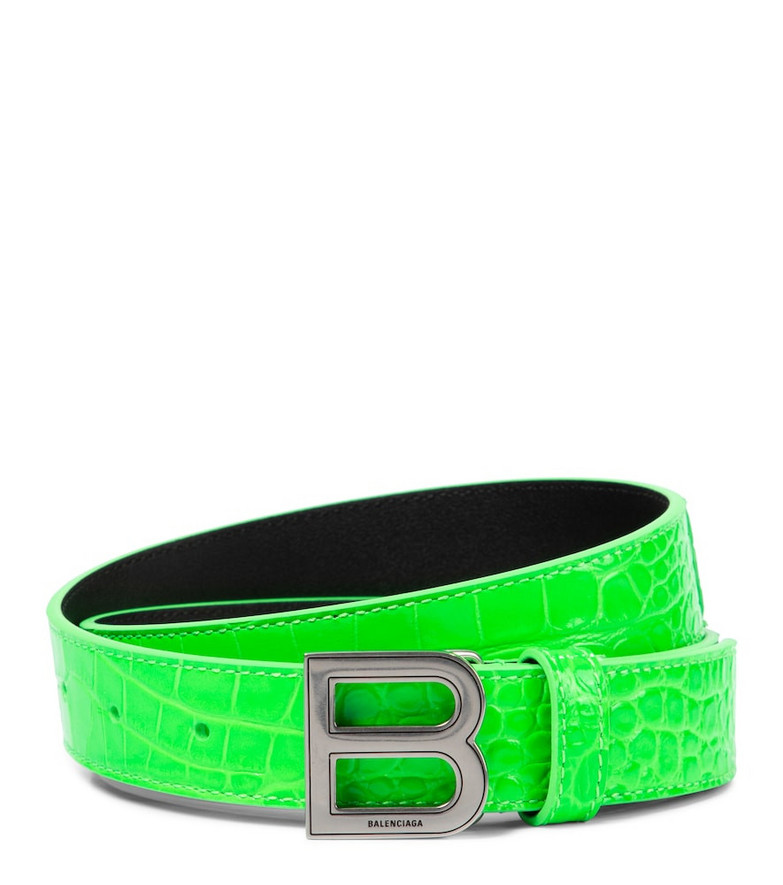 Balenciaga Hourglass croc-effect leather belt in green