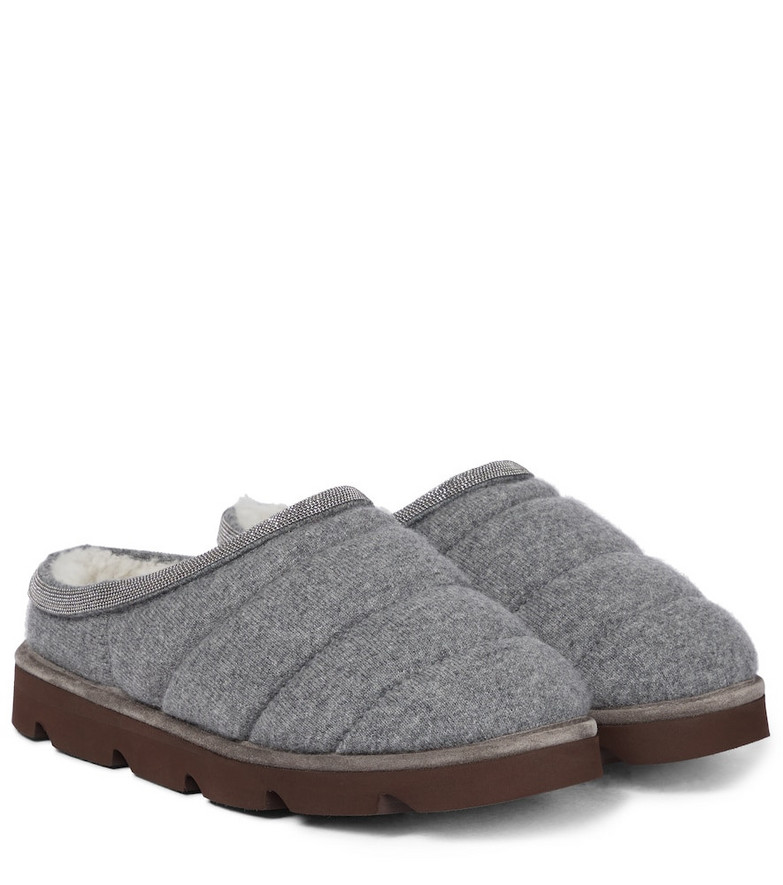 Brunello Cucinelli Cashmere and shearling slippers in grey