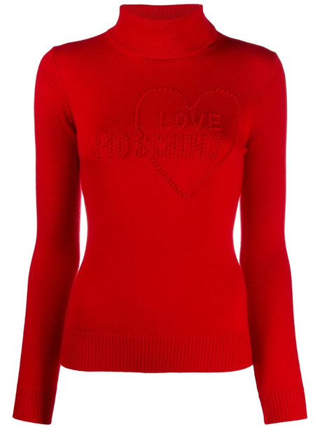 Love Moschino pompom-logo roll neck sweater in red