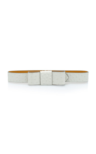 Marni Bow-Embellished Textured-Leather Belt in white