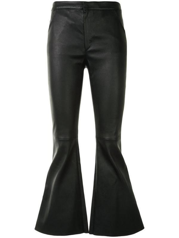 Drome bell-flare leather trousers in black
