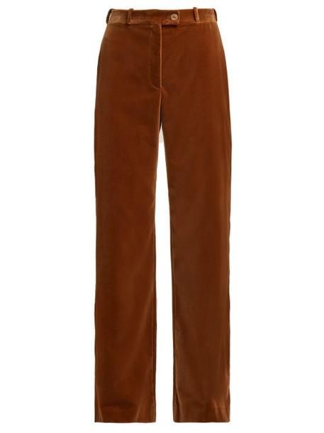 Acne Studios - Wide Leg Cotton Velvet Trousers - Womens - Beige