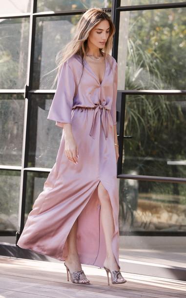 Sablyn Owen Tie-Front Silk Dress in pink