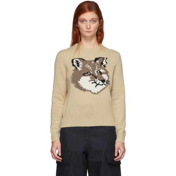 Maison Kitsune Beige Wool Fox Head Pullover